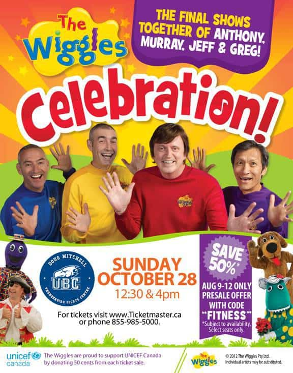 The Wiggles Celebration Vancouver, BC 50% off Coupon Code