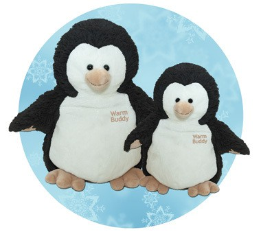 "The newest members of the Warm Buddy family of warm-up plush animals! Our Small Penguin and Baby Penguin are created from the softest fur and plush hands and feet. Every Warm Buddy plush animal comes with a removeable inner pack that can be warmed in the microwave or cooled in the freezer as desired. Small Penguin 13"" tall Baby Penguin 10"" tall  Retail Price: Small Penguin: $29.95 Baby Penguin: $25.95"