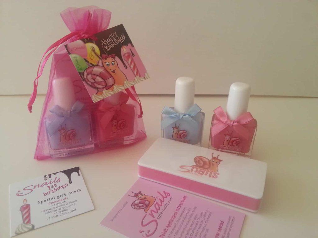 Happy 1st Birthday Snails Children's Nail Polish Gift Pouch