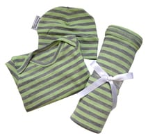 NZ Made Merino Gift Set - Gown, Hat & Blanket - Lime & Soda