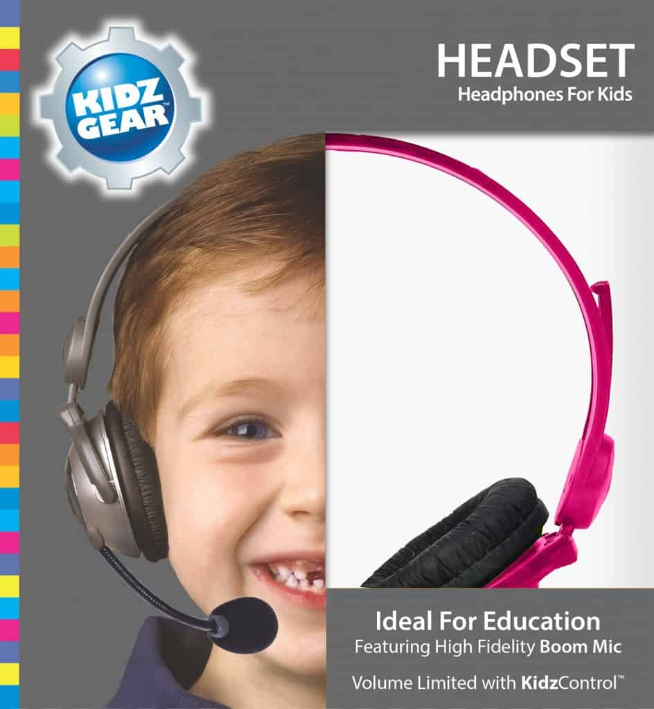 Kidz Gear Deluxe Stereo Headset Headphones with Boom Microphone - Box Pink