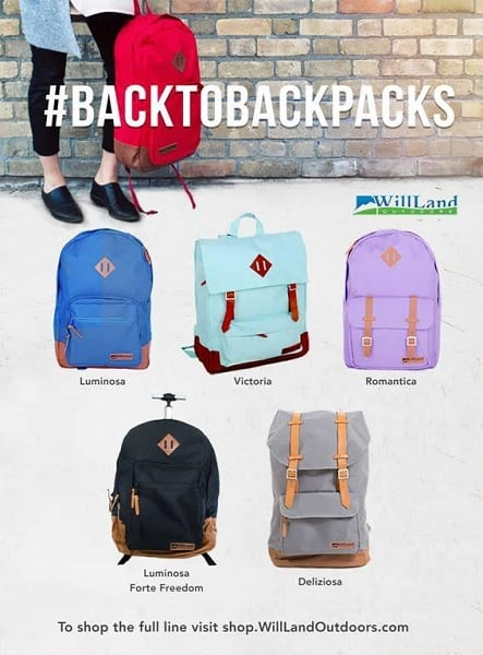 Get #BackToBackpacks this Fall with WillLand Outdoors