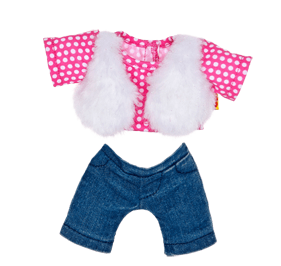 Build A Bear Smallfrys® Pink Faux Fur Vest Outfit 2 pc.