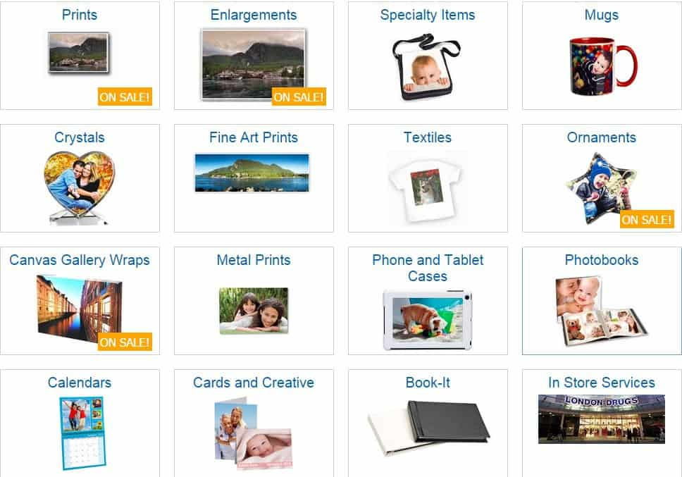 London Drugs Photolab products