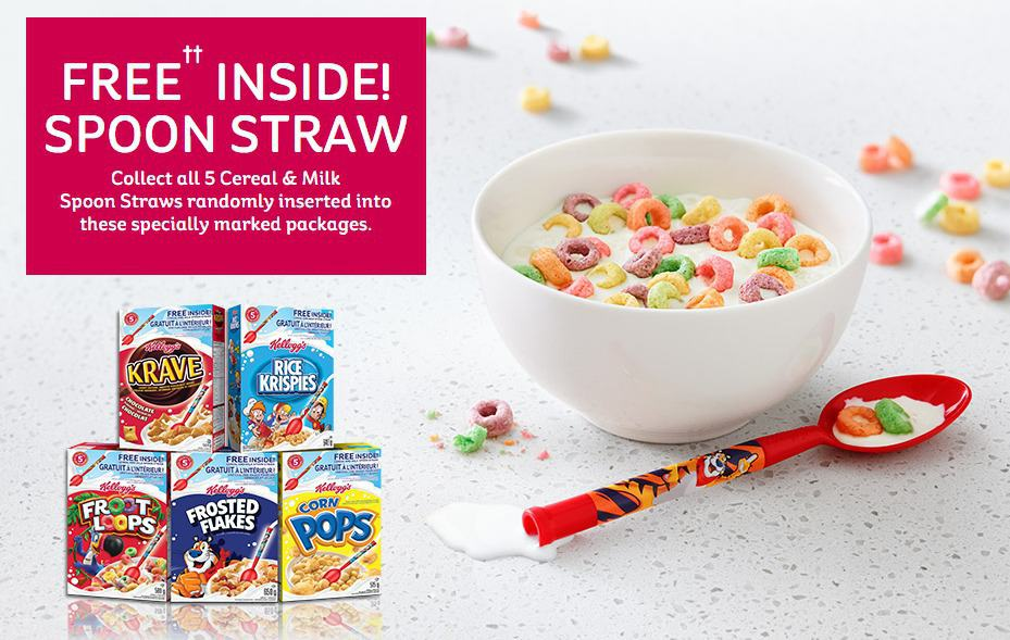 Free inside. Get your Kellogg s cereal and milk spoon straw