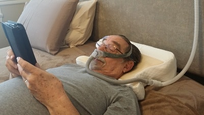 CPAP on back