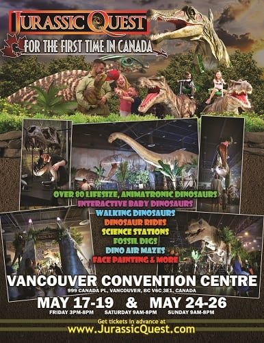 JURASSIC QUEST TO TAKE VANCOUVER BACK IN TIME  FOR TWO WEEKENDS THIS MAY